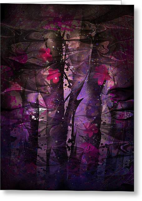 Hallucination Digital Art Greeting Cards - Flowers Among Thorns Greeting Card by Rachel Christine Nowicki