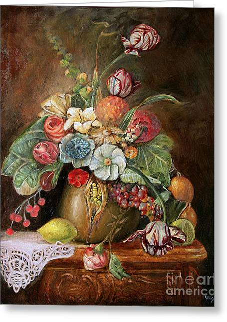 Kinkade Greeting Cards - Flowers and a Cloth Greeting Card by Greg  Alexander