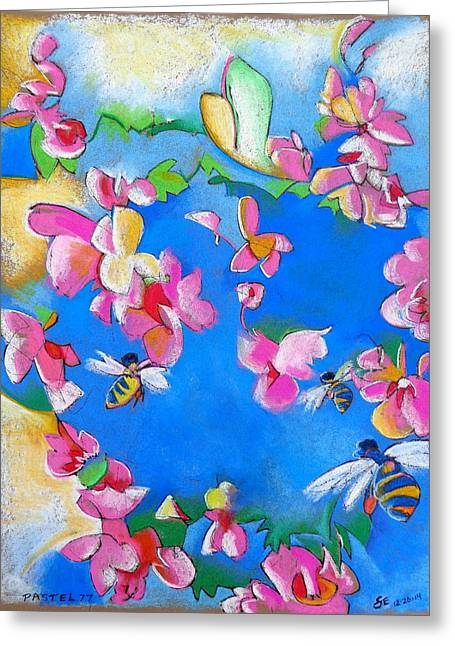 Pink Pastels Greeting Cards - Flowers and Bees Greeting Card by Steve Emery