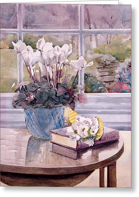 Julia Rowntree Greeting Cards - Flowers And Book On Table Greeting Card by Julia Rowntree