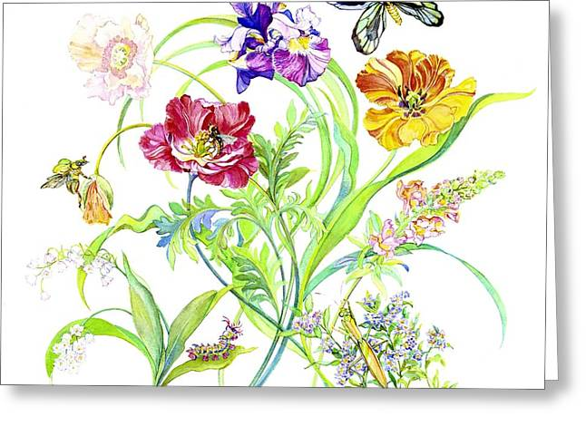 Blooms Butterflies Greeting Cards - Flowers and Butterfly Greeting Card by Kimberly McSparran