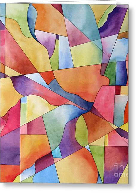 Flowers And Candy Geometric Abstract Greeting Card by Cherilynn Wood