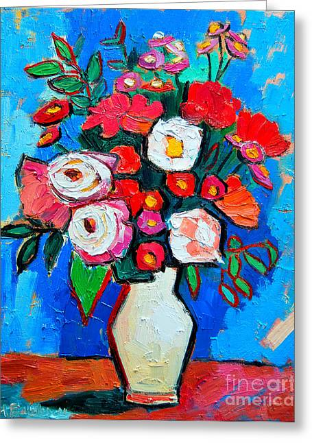 Table Greeting Cards - Flowers And Colors Greeting Card by Ana Maria Edulescu