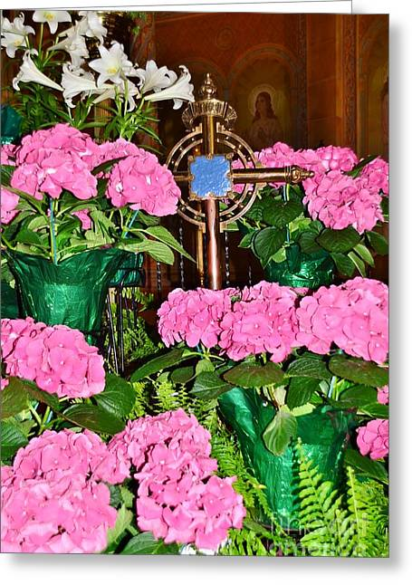 Affirmation Greeting Cards - Flowers And Cross Greeting Card by Kathleen Struckle