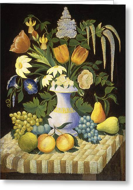 High Society Drawings Greeting Cards - Flowers and Fruit Greeting Card by Celestial Images
