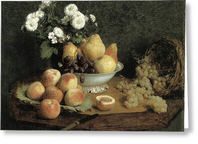 Bowl Of Flowers Greeting Cards - Flowers and Fruit on a Table Greeting Card by Henri Fantin-Latour