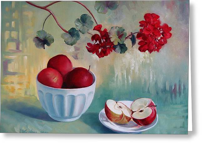 Red Geraniums Paintings Greeting Cards - Flowers and fruits Greeting Card by Elena Oleniuc