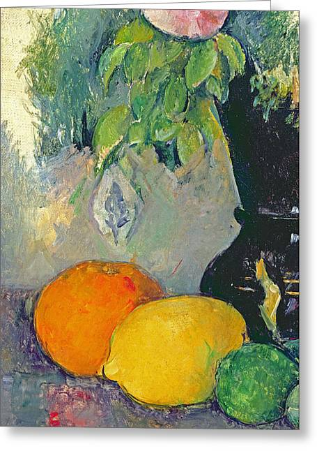Flowers And Fruits Greeting Card by Paul Cezanne