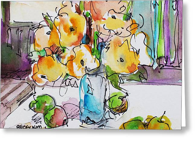 Becky Kim Mixed Media Greeting Cards - Flowers and Green Apples Greeting Card by Becky Kim