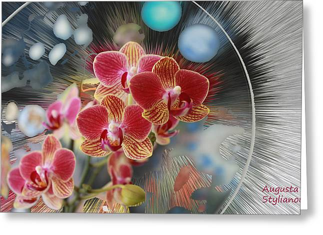 Silver Turquoise Greeting Cards - Flowers and Planets Greeting Card by Augusta Stylianou