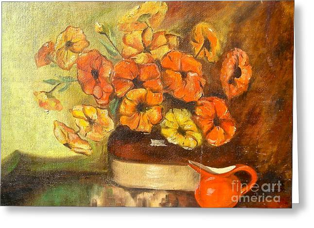 Canmore Artist Greeting Cards - Flowers and Red Pitcher Greeting Card by Virginia Ann Hemingson