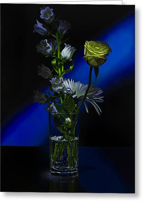 Glass Reflections Greeting Cards - Flowers and Soda Greeting Card by Tony Chimento