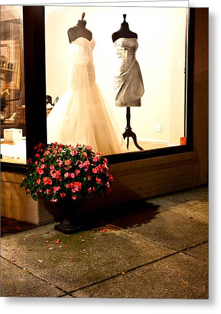 La Grange Greeting Cards - Flowers and Storefront Greeting Card by Chris Fender