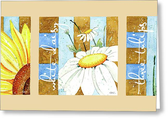 Ann Paintings Greeting Cards - Flowers and Stripes Greeting Card by Annie Troe