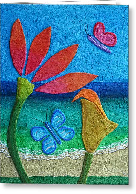 Beaches Reliefs Greeting Cards - Flowers And The Sea Greeting Card by Fred Odle