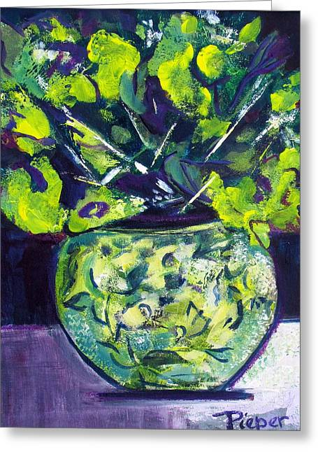 Contemporary Art With Traditional Subject Greeting Cards - Flowers and Vase  Greeting Card by Betty Pieper