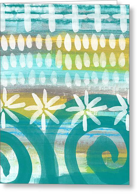 Blues And Yellows Greeting Cards - Flowers and Waves- abstract pattern painting Greeting Card by Linda Woods