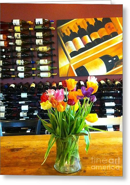 Flowers And Wine Greeting Card by Susan Garren