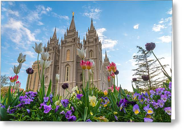 Temple Square Greeting Cards - Flowers at Temple Square Greeting Card by Dustin  LeFevre