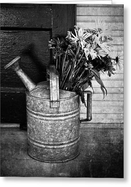 Water Jug Greeting Cards - Flowers At The Door  Greeting Card by Jerry Cordeiro