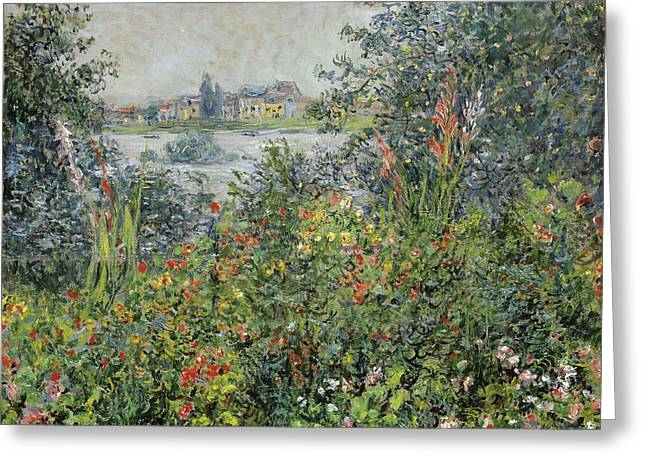 Vetheuil Greeting Cards - Flowers at Vetheuil Greeting Card by Claude Monet