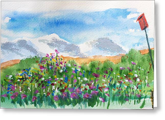 Wolf Creek Paintings Greeting Cards - Flowers at Wolf Creek Greeting Card by Walt Brodis