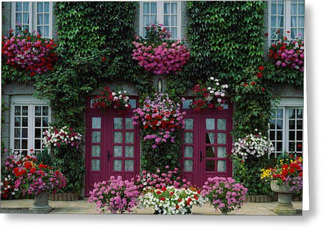 Entrance Door Greeting Cards - Flowers Breton Home Brittany France Greeting Card by Panoramic Images