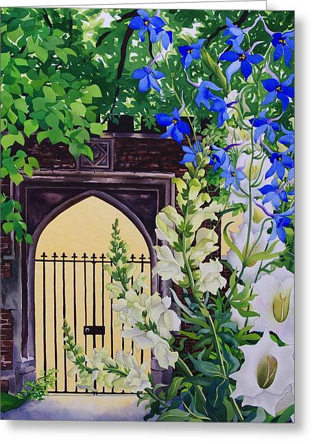Secret Gardens Greeting Cards - Flowers By A Sunlit Gateway, 2008 Wc On Paper Greeting Card by Christopher Ryland