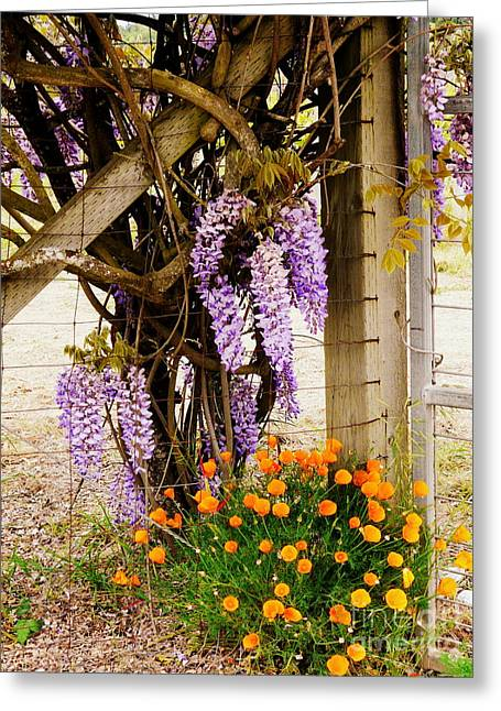 Flowers By The Gate Greeting Card by Avis  Noelle