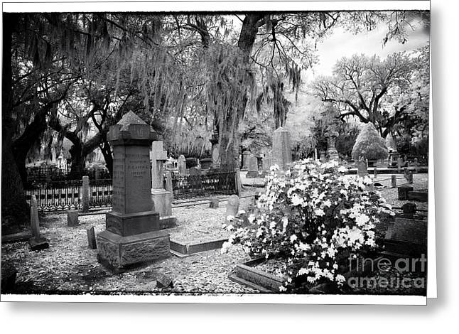 Historic Cemetery Greeting Cards - Flowers by the Grave Greeting Card by John Rizzuto