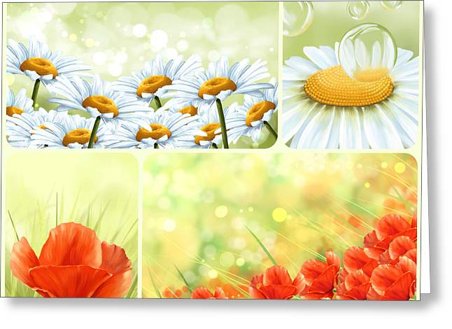Image Composition Greeting Cards - Flowers collage Greeting Card by Veronica Minozzi