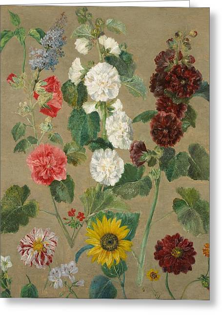 Flower Still Life Greeting Cards - Flowers Greeting Card by Ferdinand Victor Eugene Delacroix