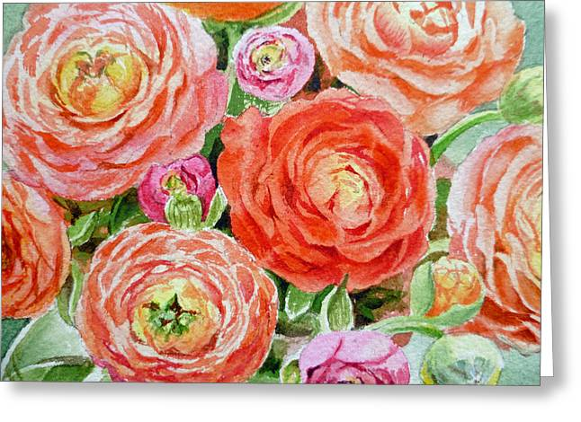 Watercolor Card Greeting Cards - Flowers Flowers Flowers Greeting Card by Irina Sztukowski