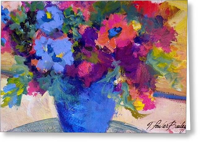 Therese Fowler-bailey Greeting Cards - Flowers for a Blue Lady Greeting Card by Therese Fowler-Bailey