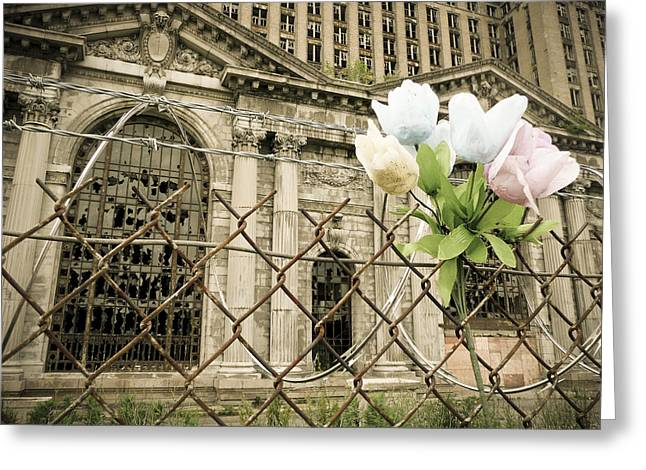 Corktown Greeting Cards - Flowers For Detroit Greeting Card by Priya Ghose