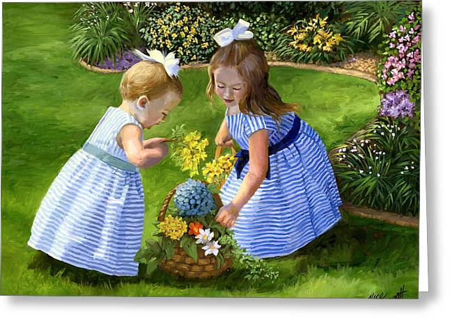 Ribbons Greeting Cards - Flowers for Mama with Girls Garden Basket Bouquet Greeting Card by Alice Leggett