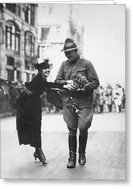 Flowers For Wwi Soldier Greeting Card by Underwood Archives