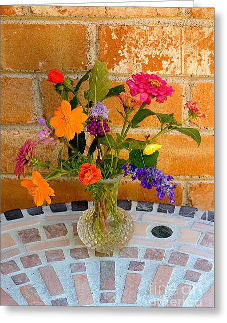 Vase Of Flowers Greeting Cards - Flowers From North Texas Garden Greeting Card by Gregory G. Dimijian, M.D.