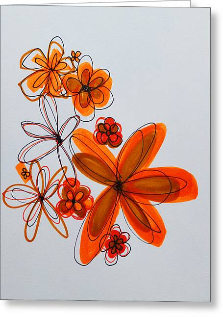 Bright Drawings Greeting Cards - Flowers IIII Greeting Card by Patricia Awapara