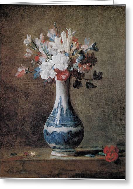 Chardin Greeting Cards - Flowers in a Blue and White Vase Greeting Card by Jean-Baptiste-Simeon Chardin