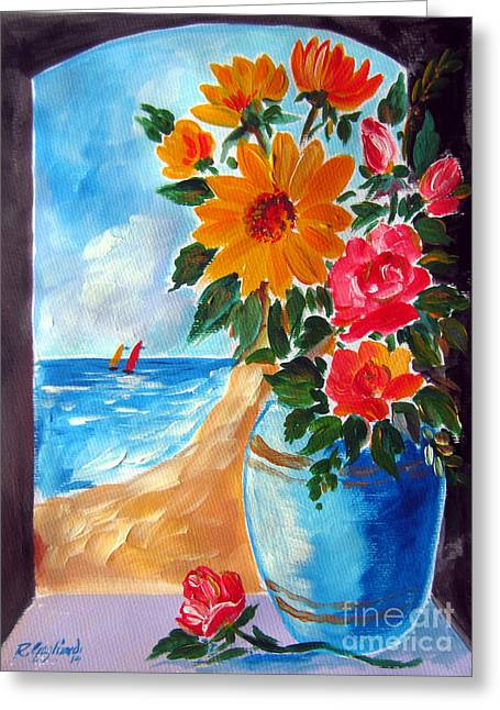 Seascape With A Boat Greeting Cards - Flowers in a blue vase  and the beach Greeting Card by Roberto Gagliardi