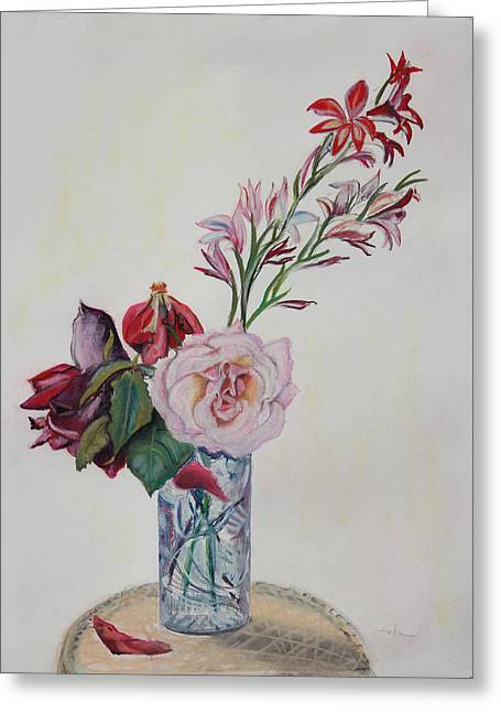 Petals Pastels Greeting Cards - Flowers in a Crystal Vase Greeting Card by Asha Carolyn Young