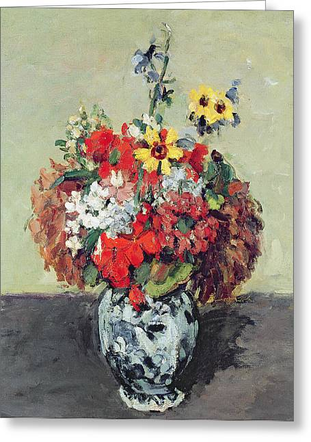 Delft Greeting Cards - Flowers in a Delft vase Greeting Card by Paul Cezanne