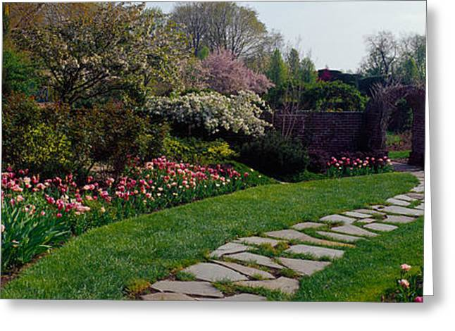 Garden Scene Greeting Cards - Flowers In A Garden, Ladew Topiary Greeting Card by Panoramic Images