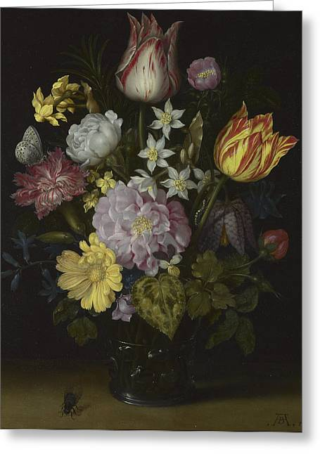 Flowers In A Glass Vase Greeting Card by Ambrosius Bosschaert the Elder