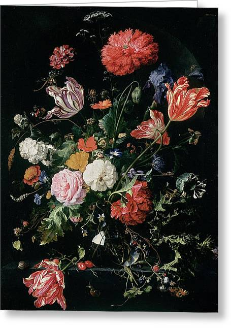 Cricket Paintings Greeting Cards - Flowers In A Glass Vase, C.1660 Greeting Card by Jan Davidsz de Heem