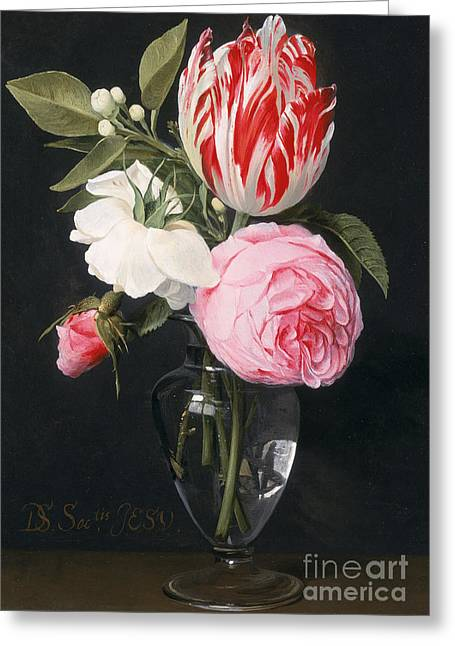 In Bloom Greeting Cards - Flowers in a Glass Vase Greeting Card by Daniel Seghers