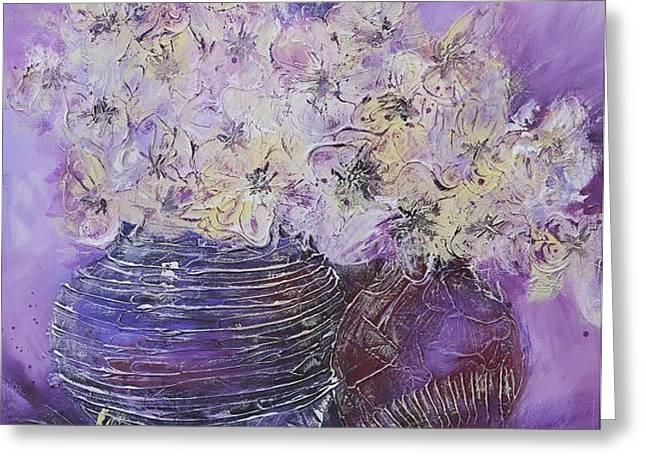Floral Artist Greeting Cards - Flowers in a Lilac Vase Greeting Card by Irina Rumyantseva