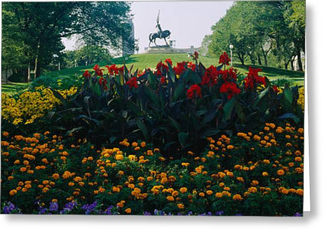 Flowers In A Park, Grant Park, Chicago Greeting Card by Panoramic Images