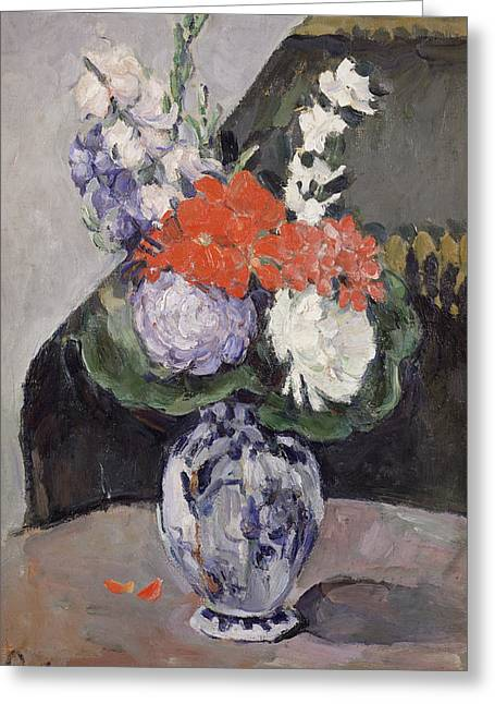 Delft Greeting Cards - Flowers in a Small Delft Vase Greeting Card by Paul Cezanne